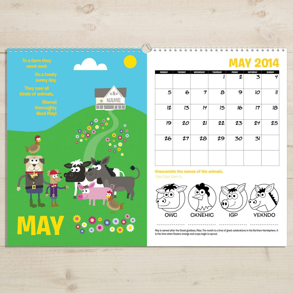 May Calendar Book : Personalized months of the year activity book signature